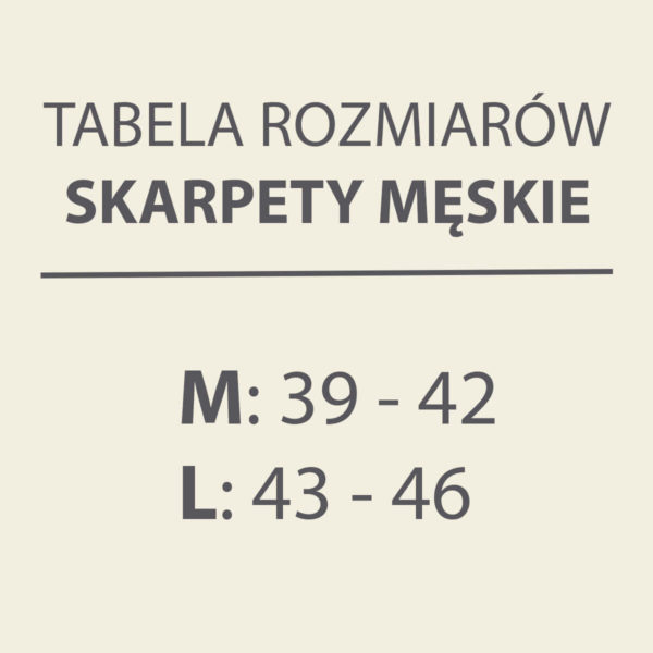 Skarpety SKARB NARODU - tabela rozmiarów
