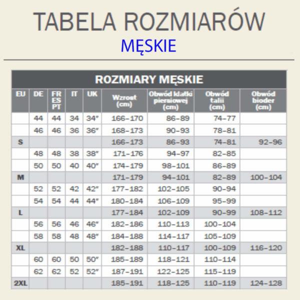 Tabela rozmiarów męskich koszulek Muzeum Skarb Narodu
