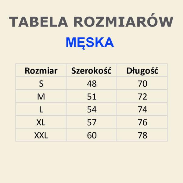Giallo Ginestra - tabela rozmiarów koszulek męskich