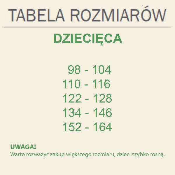 Tabela rozmiarów dziecięcych koszulek